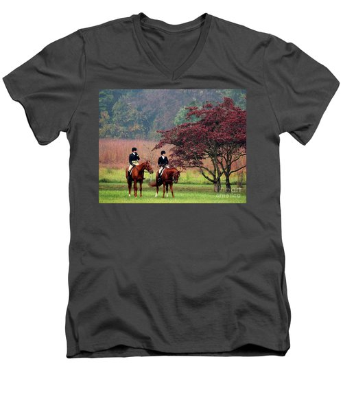 Men's V-Neck T-Shirt featuring the photograph Before The Hunt by Polly Peacock