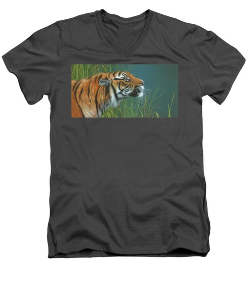 Men's V-Neck T-Shirt featuring the painting Beggars Day by Mike Brown