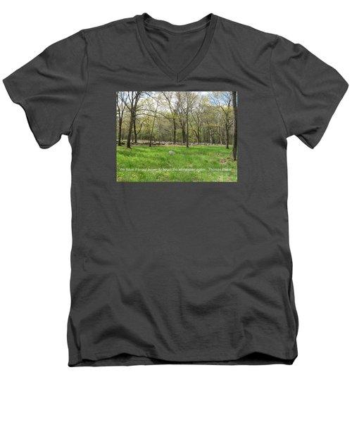 Begin The World Over Again Men's V-Neck T-Shirt by Deborah Dendler