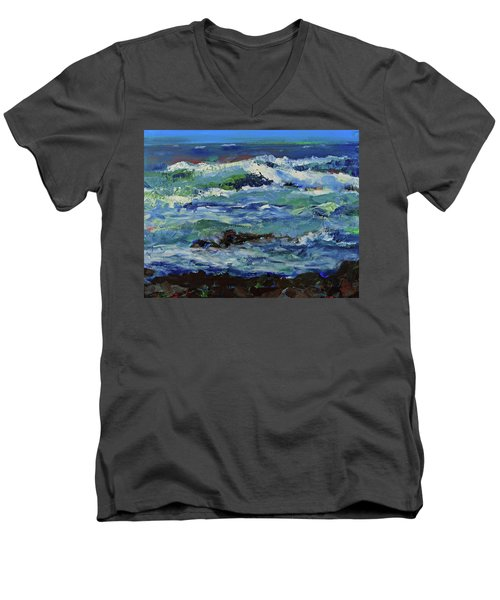 Men's V-Neck T-Shirt featuring the painting Beginning Of A Storm by Walter Fahmy