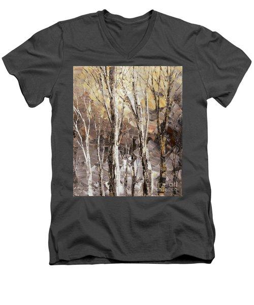 Men's V-Neck T-Shirt featuring the painting Beginning by Tatiana Iliina