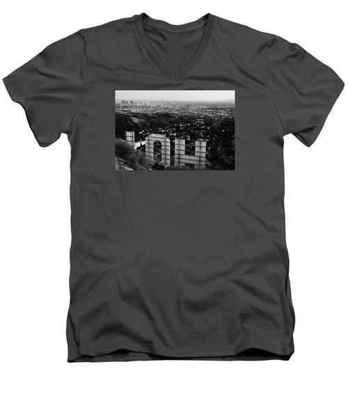 Behind Hollywood Bw Men's V-Neck T-Shirt by James Kirkikis