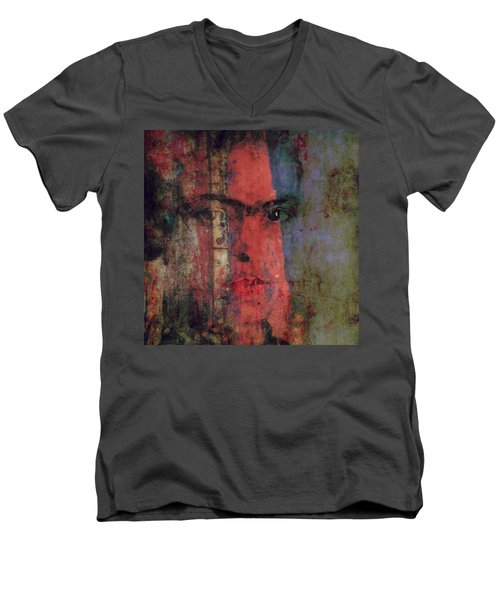 Men's V-Neck T-Shirt featuring the painting Behind The Painted Smile by Paul Lovering