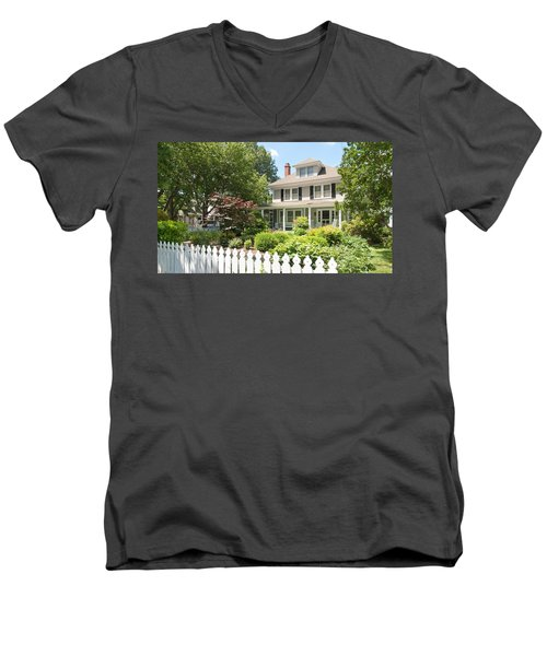 Men's V-Neck T-Shirt featuring the photograph Behind The Picket Fence by Charles Kraus