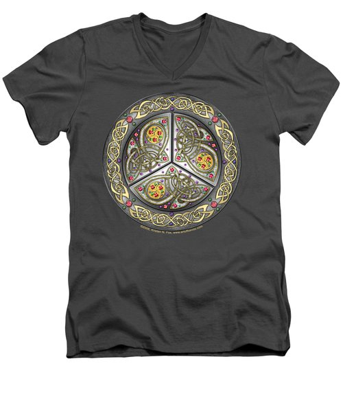 Men's V-Neck T-Shirt featuring the mixed media Bejeweled Celtic Shield by Kristen Fox