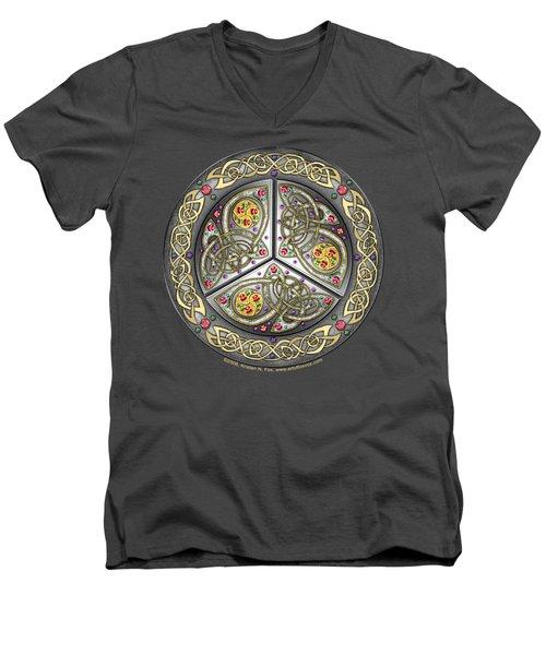 Bejeweled Celtic Shield Men's V-Neck T-Shirt by Kristen Fox