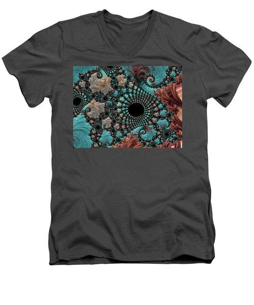 Bejeweled Fractal Men's V-Neck T-Shirt by Bonnie Bruno