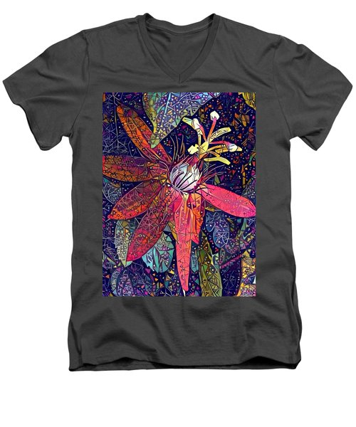 Men's V-Neck T-Shirt featuring the photograph Bejeweled Passion by Geri Glavis