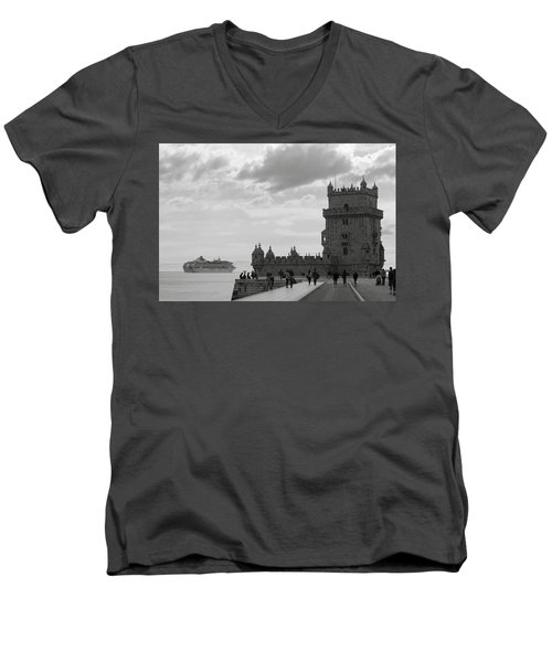 Men's V-Neck T-Shirt featuring the photograph Belem And The Boat by Lorraine Devon Wilke