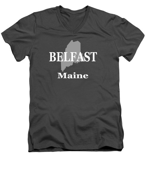Men's V-Neck T-Shirt featuring the photograph Belfast Maine State City And Town Pride  by Keith Webber Jr