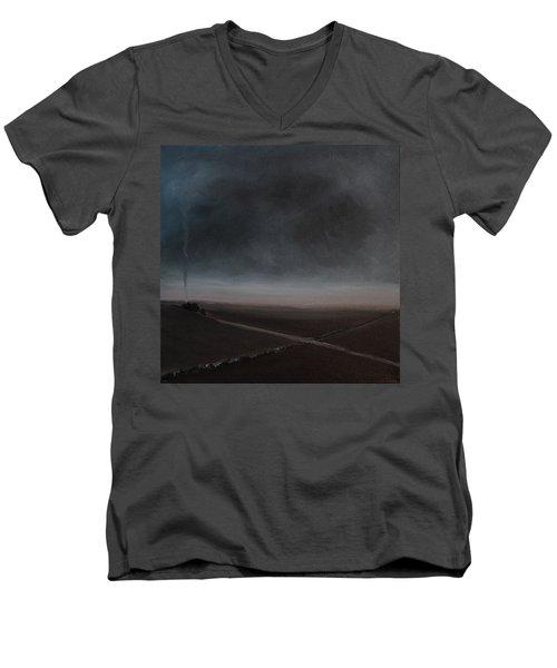 Men's V-Neck T-Shirt featuring the painting Belgian Wintertime by Tone Aanderaa