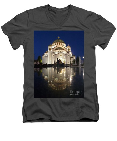 Men's V-Neck T-Shirt featuring the photograph Belgrade Serbia Orthodox Cathedral Of Saint Sava  by Danica Radman