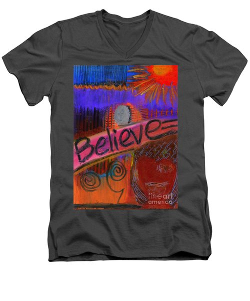 Men's V-Neck T-Shirt featuring the painting Believe Conceive Achieve by Angela L Walker