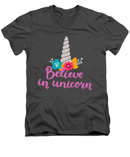 Men's V-Neck T-Shirt featuring the digital art Believe In Unicorn by Edward Fielding
