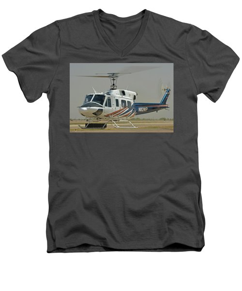 Men's V-Neck T-Shirt featuring the photograph Bell 212 N82wp Phoenix-mesa Gateway Airport Arizona April 15 2016 by Brian Lockett