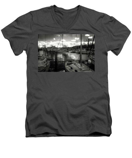 Bell Haven Docks Men's V-Neck T-Shirt by Paul Seymour