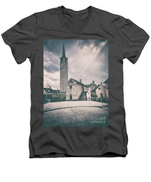 Men's V-Neck T-Shirt featuring the photograph Bell Tower In Italian Village by Silvia Ganora