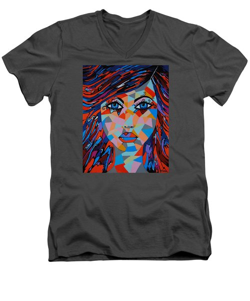Men's V-Neck T-Shirt featuring the painting Bella by Kathleen Sartoris