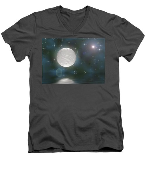 Men's V-Neck T-Shirt featuring the digital art Bella Luna by Wendy J St Christopher