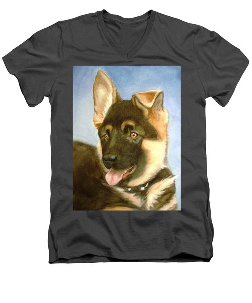 Men's V-Neck T-Shirt featuring the painting Bella by Marilyn Jacobson
