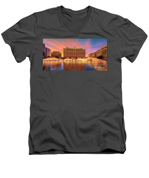 Bellagio Fountains Warm Sunset 2 To 1 Ratio Men's V-Neck T-Shirt