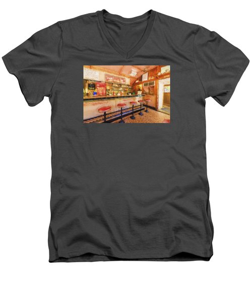 Men's V-Neck T-Shirt featuring the photograph Bellows Falls Diner by Tom Singleton