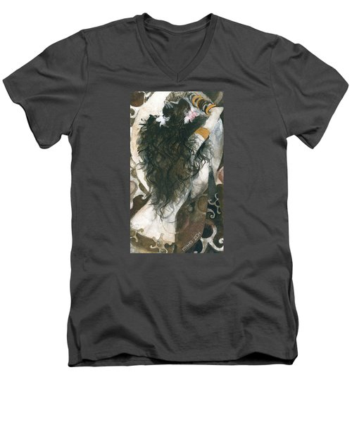 Men's V-Neck T-Shirt featuring the painting Belly Dancer And The Mirror by Maya Manolova