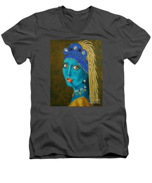 Belly Dancer With A Pearl Earring -- The Original -- Whimsical Redo Of Vermeer Painting Men's V-Neck T-Shirt