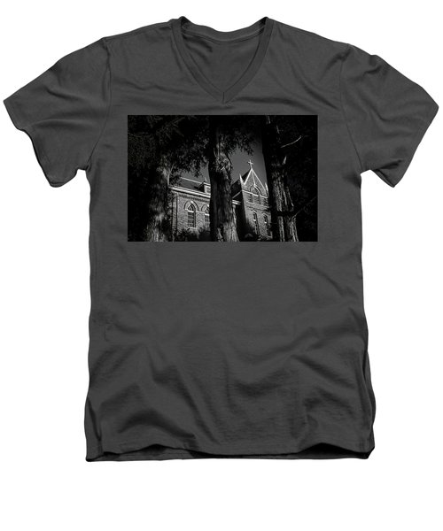 Men's V-Neck T-Shirt featuring the photograph Belmont Abbey by Jessica Brawley