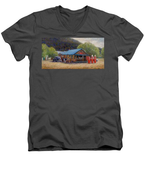 Men's V-Neck T-Shirt featuring the painting Below Taos 2 by Donelli  DiMaria
