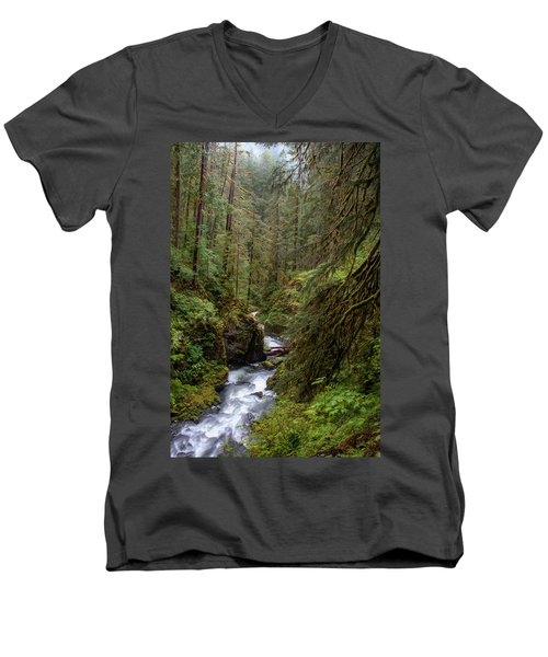 Below The Falls Men's V-Neck T-Shirt by David Andersen
