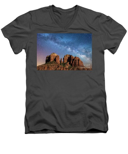 Below The Milky Way At Cathedral Rock Men's V-Neck T-Shirt