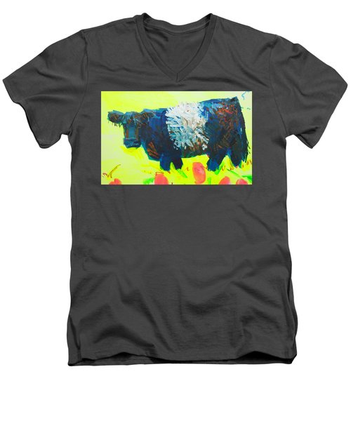 Belted Galloway Cow Looking At You Men's V-Neck T-Shirt