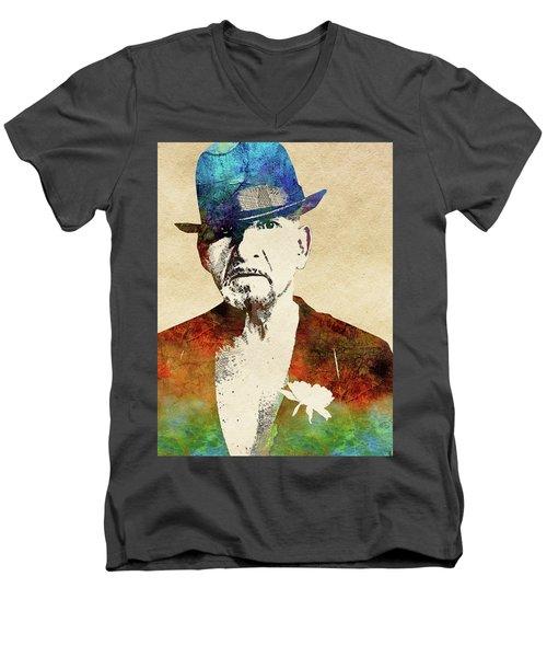 Ben Kingsley Men's V-Neck T-Shirt by Mihaela Pater