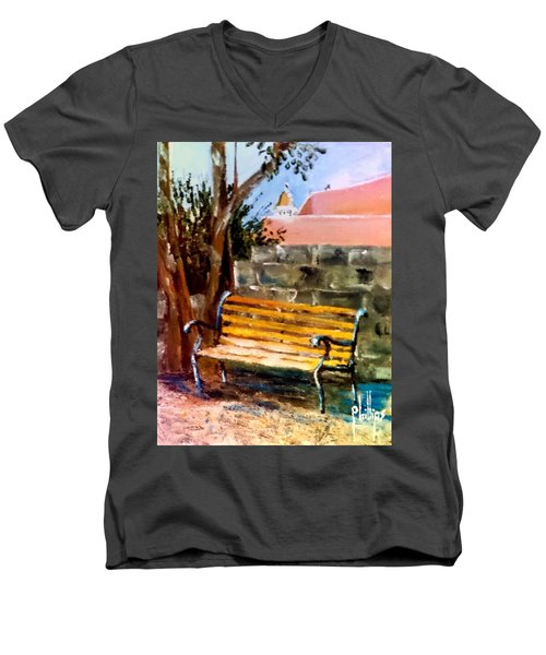 Bench At Waterfront Park Men's V-Neck T-Shirt by Jim Phillips