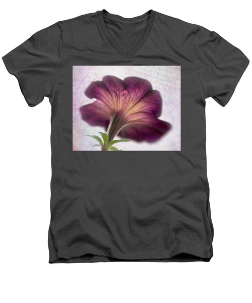 Men's V-Neck T-Shirt featuring the photograph Beneath A Dreamy Petunia by David and Carol Kelly
