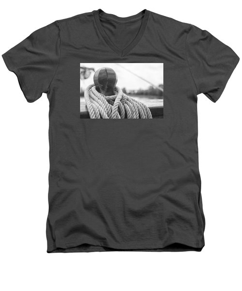 Men's V-Neck T-Shirt featuring the photograph Beneath The Sail Coiled Rope by Bob Decker