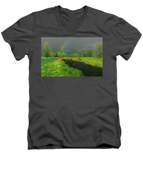 Beneath The Waning Mist Men's V-Neck T-Shirt