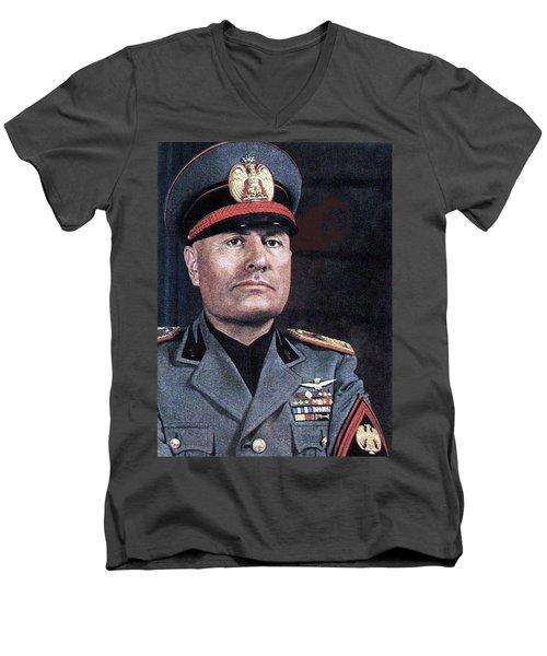 Benito Mussolini Color Portrait Circa 1935 Men's V-Neck T-Shirt