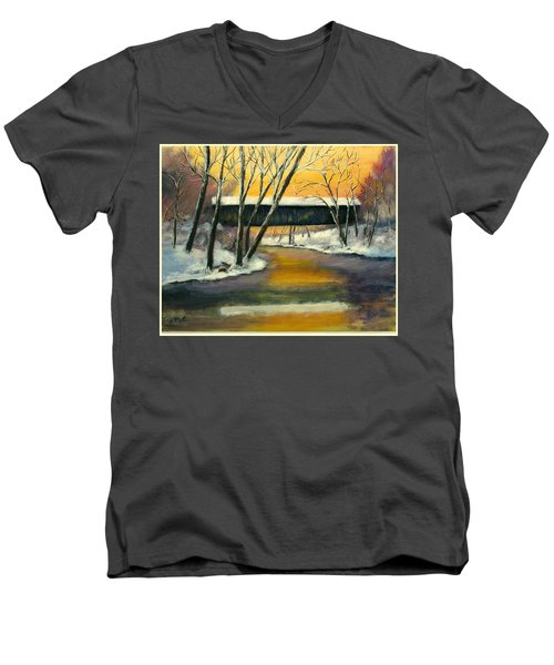 Men's V-Neck T-Shirt featuring the painting Bennett by Gail Kirtz