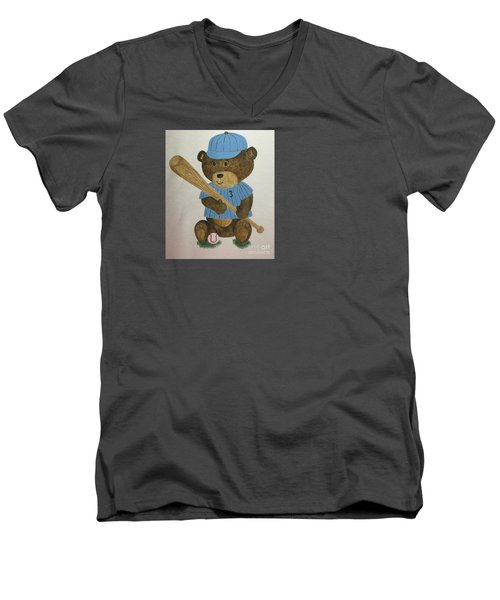Men's V-Neck T-Shirt featuring the painting Benny Bear Baseball by Tamir Barkan
