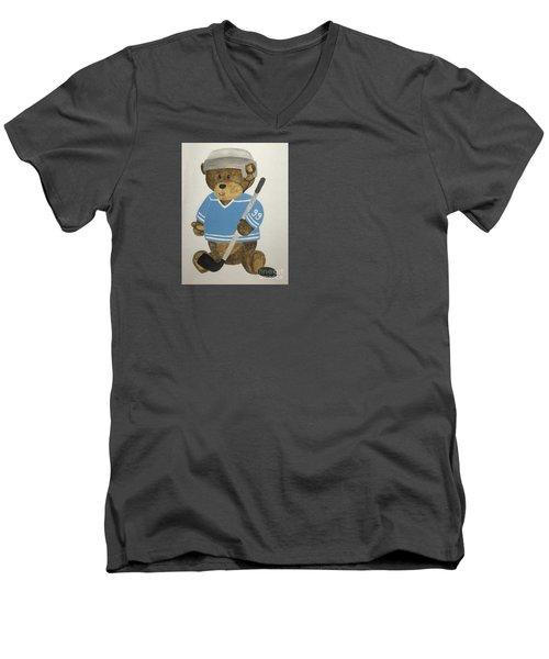 Men's V-Neck T-Shirt featuring the painting Benny Bear Hockey by Tamir Barkan