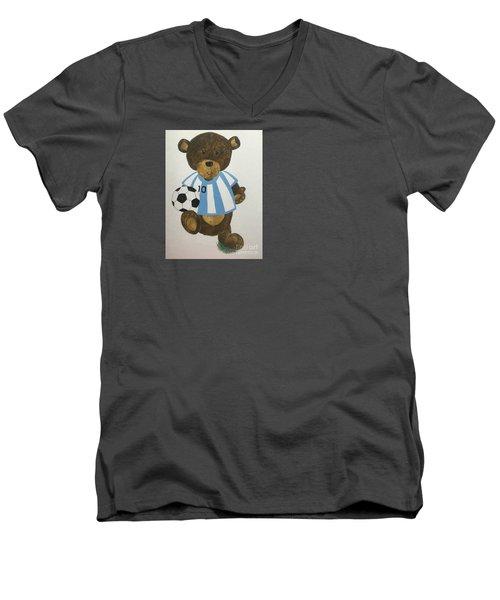 Men's V-Neck T-Shirt featuring the painting Benny Bear Soccer by Tamir Barkan