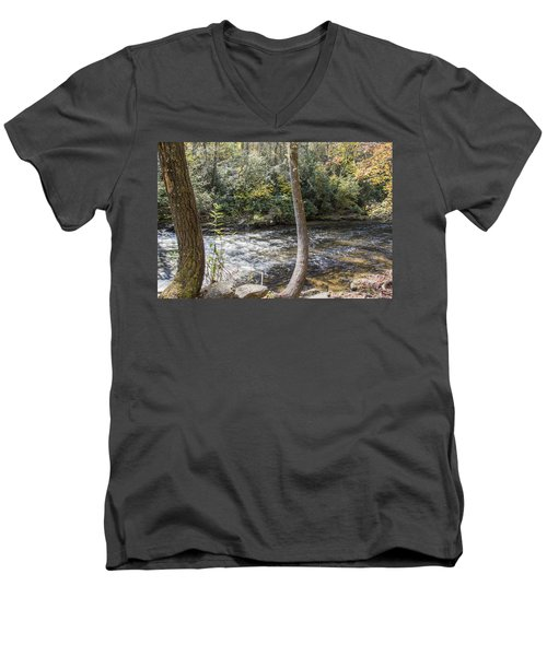 Bent Tree River Men's V-Neck T-Shirt by Ricky Dean