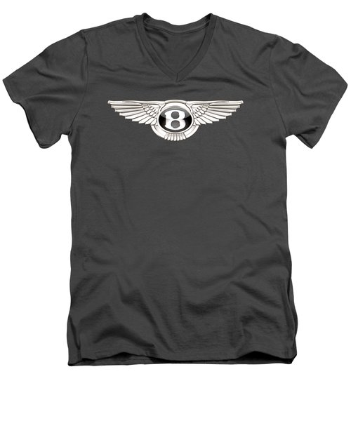 Bentley 3 D Badge On Red Men's V-Neck T-Shirt by Serge Averbukh