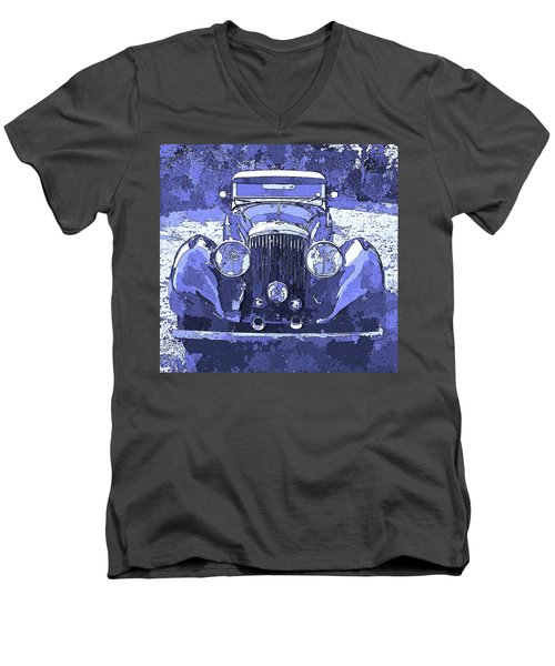 Bentley Blue Pop Art P2 Men's V-Neck T-Shirt
