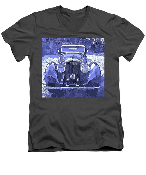 Bentley Blue Pop Art P2 Men's V-Neck T-Shirt