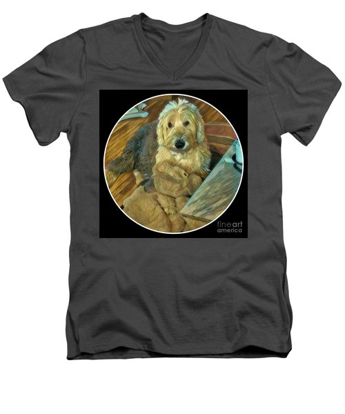 Bentley With His Baby Men's V-Neck T-Shirt by Jodie Marie Anne Richardson Traugott          aka jm-ART