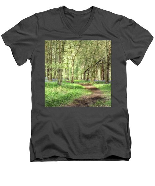 Bentley Woods, Warwickshire #landscape Men's V-Neck T-Shirt by John Edwards