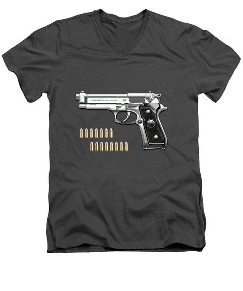 Beretta 92fs Inox With Ammo On Red Velvet  Men's V-Neck T-Shirt
